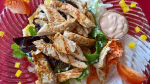 Salad with Strips of Chicken by almostpaleo.org